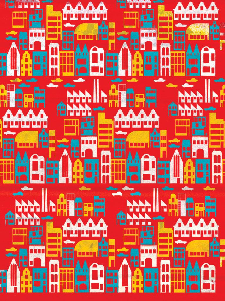 illustratie 'de stad' voor KNACK